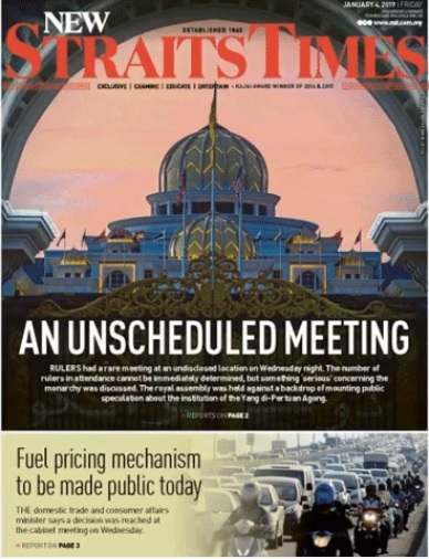 New Straits Times front page